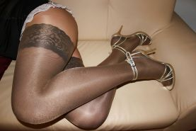 Hot & uncensored in Nylon Stockings