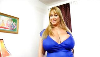Samantha 38G - Blue dress and blue panties