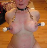 Chubby redhead Part7 clamp lifted saggy tits & pumped nipple