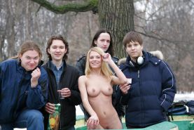 Blonde Russian public nudity  the winter