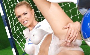 Body art, painted bodies. Football soccer babes.