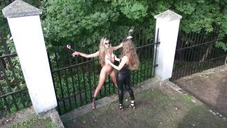 Veneisse outdoor BDSM lesbian toy and double fisting
