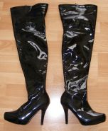 Mistress K in PVC thigh boots and crotchless panties