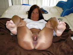 Whore milf Angie, cumshot on her face , body , pussy , feet