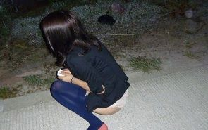 Chinese girl flashing in public