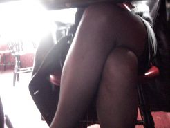 My legs, my feet under the table at the restaurant