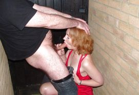 MILF Slag Sucks Me Off in a Pub Alleyway