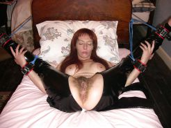 Tim 29 Hairy sub in catsuit gets spread tied and pulled