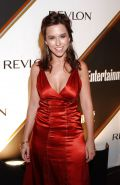Lacey Chabert - Red & Green Satin Dresses