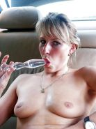 Sexy amateur wife masturbating in her car