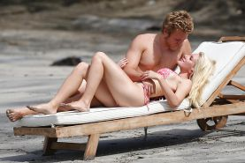 Heidi Montag showing off her body at the Beach in a Bikini
