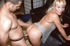 Blonde mature in 'bling' dress posing and getting dick