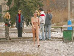 Naked girl in public in Italy and very sexy bunett