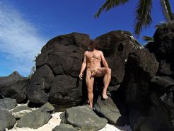 Public nudity on a tropical island