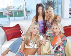 Four lesbians playing with dildo