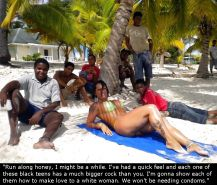 Interracial mature wife on the beach