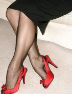 Sexy blond MILF Jo stockings red slingback pumps