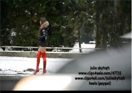 French Hooker in thigh high boots in the snow upskirt
