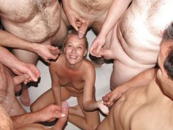 Dutch Blonde Amateur Milf Gangbang with many Facials
