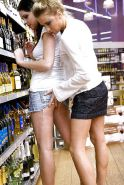 Lesbians teen in the shop