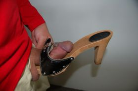 Shoejob with high heeled clogs wooden pantoletten