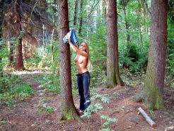 Blonde amateur girl in forest and public naked