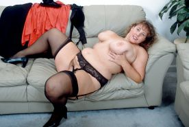 BBW lady in stockings teasing