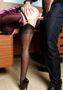 Horny MILF secretary in high heels and stockings