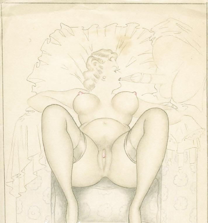 Erotic Vintage drawings Porn Pics #295308