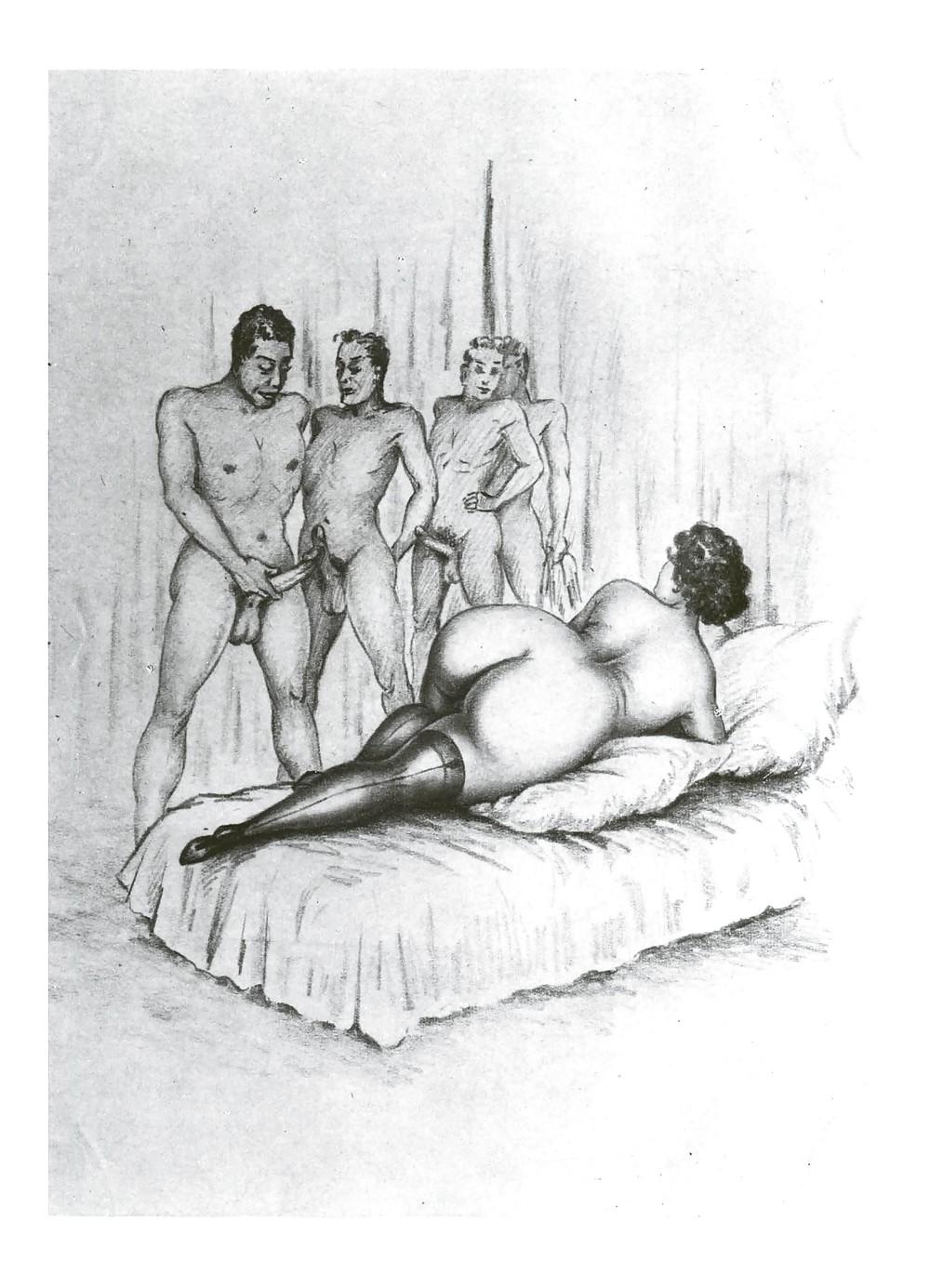 Erotic Vintage drawings Porn Pics #295618
