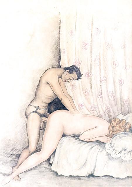 Erotic Vintage drawings Porn Pics #295654