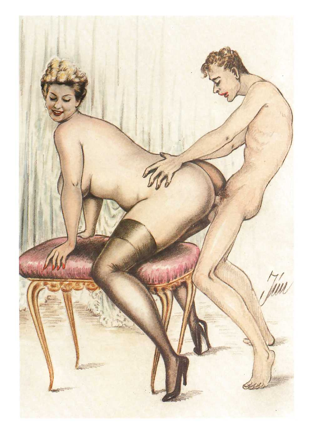 Erotic Vintage drawings Porn Pics #295952