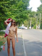 Blonde teen nudity in public