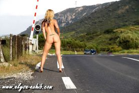 Nude and flashing in public on the road