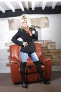 Mature skank jeans and leather