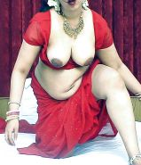 Indian wife exposed in red saree