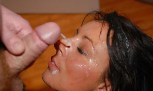 Horny Brunette Milf Loves Bukkake