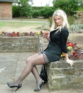 Sexy Blonde at the Park in Miniskirt, Stockings and Heels
