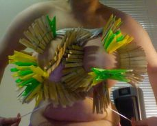 Big Natural Boobs Tortured With Over 100 pegs