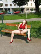 Upskirt pussy and outdoor nudity. Some teens.