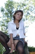Hairy upskirt outdoor with stockings