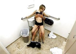 Young Couple Recorded by a Hidden Cam at Toilet