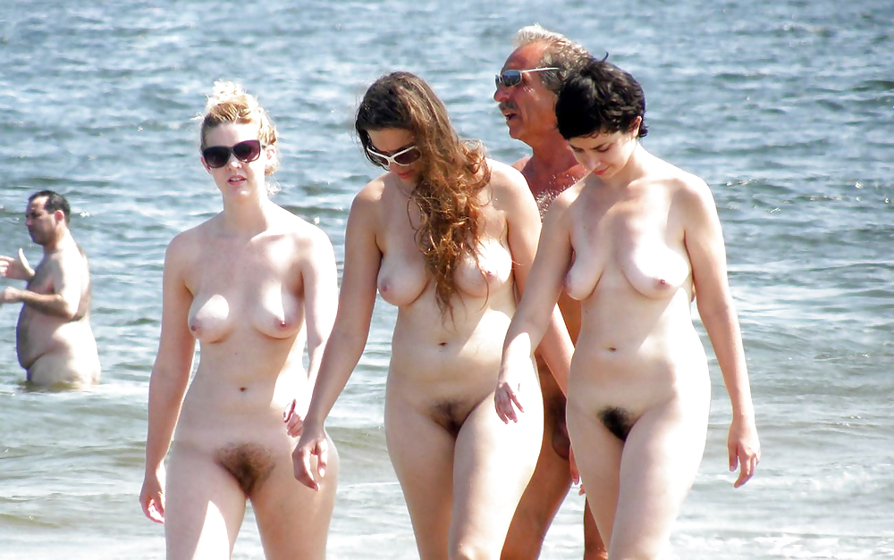 Beautiful Hairy Babes Caught On Beach By Voyeur TROC #8444380