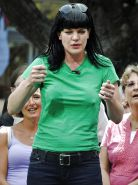 NCIS babe Pauley Perrette lactating in public