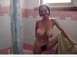 Busty hairy amateur shower