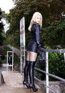 Sexy real girls wearing  Leather  and High Heels in Public