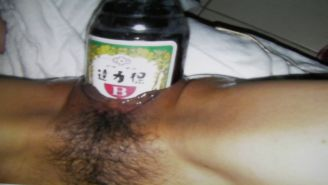 Taiwan wife public pussy bottle insertion