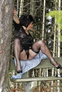 Mature milf Amanda wearing stockings in th woods