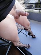 Hard cock shemale exhib on balcony
