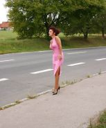 Mature with Pink Dress fucked In the Taxi
